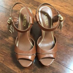 NEW Ralph Lauren Tan Wedge, Size 8